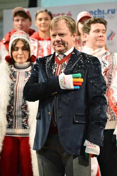 Музыкант, саксофонист Игорь Бутман на презентации формы олимпийской и паралимпийской команд России в демонстрационном зале ГУМа.