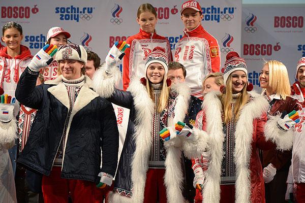 Модели на презентации формы олимпийской и паралимпийской команд России в демонстрационном зале ГУМа.
