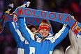 Представители Молдавии во время парада атлетов и членов национальных делегаций на церемонии открытия XXII зимних Олимпийских игр в Сочи.