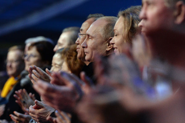 Путин на церемонии открытия XXII зимних Олимпийских игр в Сочи.
