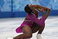 Маэ Беренис Мейте (Франция) выступает в короткой программе женского одиночного катания командных соревнований по фигурному катанию