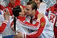 Ксения Столбова и Федор Климов (Россия) после выступления в произвольной программе парного катания командных соревнований по фигурному катанию на XXII зимних Олимпийских играх в Сочи.
