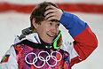 Александр Смышляев (Россия) в финале могула на соревнованиях по фристайлу среди мужчин на XXII зимних Олимпийских играх в Сочи.