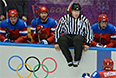 Слева направо: Никита Никитин и Федор Тютин (Россия) в матче группового этапа между сборными командами России и Словакии на соревнованиях по хоккею среди мужчин на XXII зимних Олимпийских играх в Сочи.