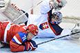 Слева: Алексей Емелин (Россия) в матче группового этапа между сборными командами России и Словакии на соревнованиях по хоккею среди мужчин на XXII зимних Олимпийских играх в Сочи.