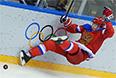 Алексей Терещенко (Россия) в матче группового этапа между сборными командами России и Словакии на соревнованиях по хоккею среди мужчин на XXII зимних Олимпийских играх в Сочи.