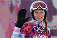 Алена Заварзина (Россия) в 1/4 финала параллельного гигантского слалома на соревнованиях по сноуборду среди женщин на XXII зимних Олимпийских играх в Сочи.