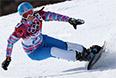 Алена Заварзина в 1/4 финала параллельного гигантского слалома на соревнованиях по сноуборду среди женщин на XXII зимних Олимпийских играх в Сочи.