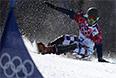Вик Уайлд в финале параллельного гигантского слалома на соревнованиях по сноуборду среди мужчин на XXII зимних Олимпийских играх в Сочи.
