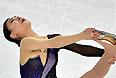 Канако Мураками (Япония) выступает в произвольной программе женского одиночного катания на соревнованиях по фигурному катанию.