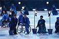 Артисты во время театрализованного представления на церемонии открытия XI зимних Паралимпийских игр в Сочи.