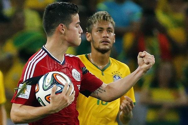 Нападающий сборной Колумбии Джеймс Родригес с помощью кузнечика забил гол в ворота Бразилии.