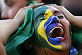 Крик отчаяния бразильской болельщицы.