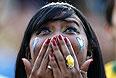 Ужас на лице еще одной бразильской болельщицы.
