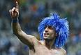 Разбитая губа не мешает защитнику сборной Аргентины Пабло Сабалете радоваться выходу в финал чемпионата мира.