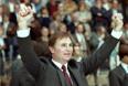 Виктор Тихонов радуется победе на чемпионате мира. 1983 год.