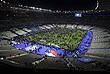"""Футбольных болельщиков выводят со """"Стад де Франс"""". На стадионе в момент взрывов находился президент Франции Франсуа Олланд. Он не пострадал, однако сообщается о погибших в результате этого теракта."""