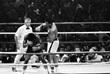 Мохаммед Али наносит удар Леону Спинксу во время их второго поединка в Новом Орлеане в 1978 году. Судьи единогласно отдали победу Али, и тот взял реванш у Спинкса за поражение, которое он потерпел шестью месяцами ранее.