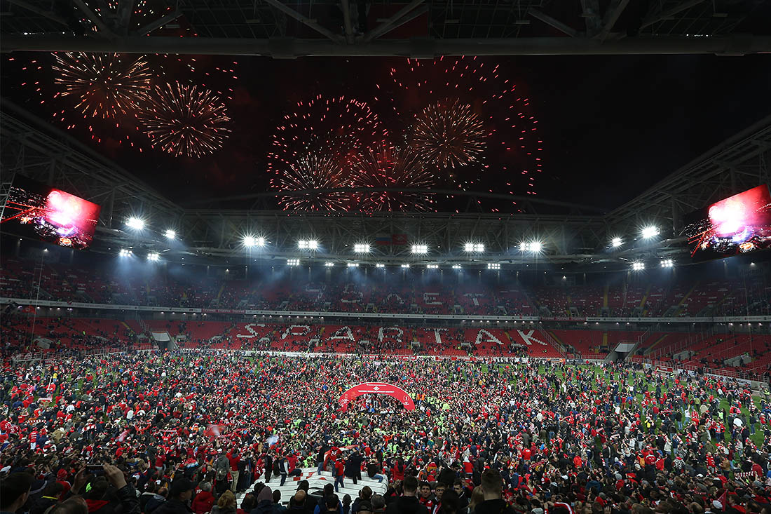 """Поле стадиона """"Открытие Арена"""" заполнено болельщиками """"Спартака"""""""