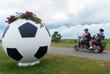 Клумба в виде футбольного мяча, установленная в одном из парков Сочи
