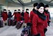 Группа поддержки сборной КНДР на Олимпийских играх прибывает в Южную Корею