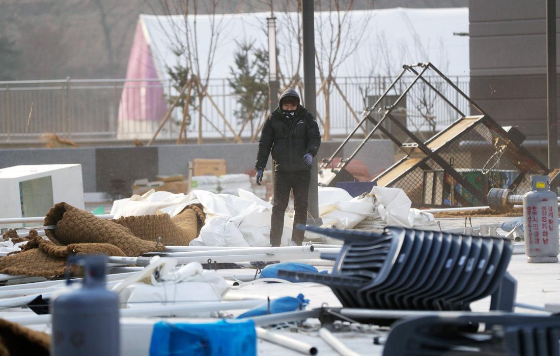 Последствия сильного ветра в олимпийском парке Каннына