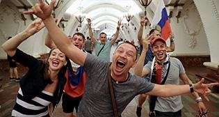 Россия празднует победу сборной
