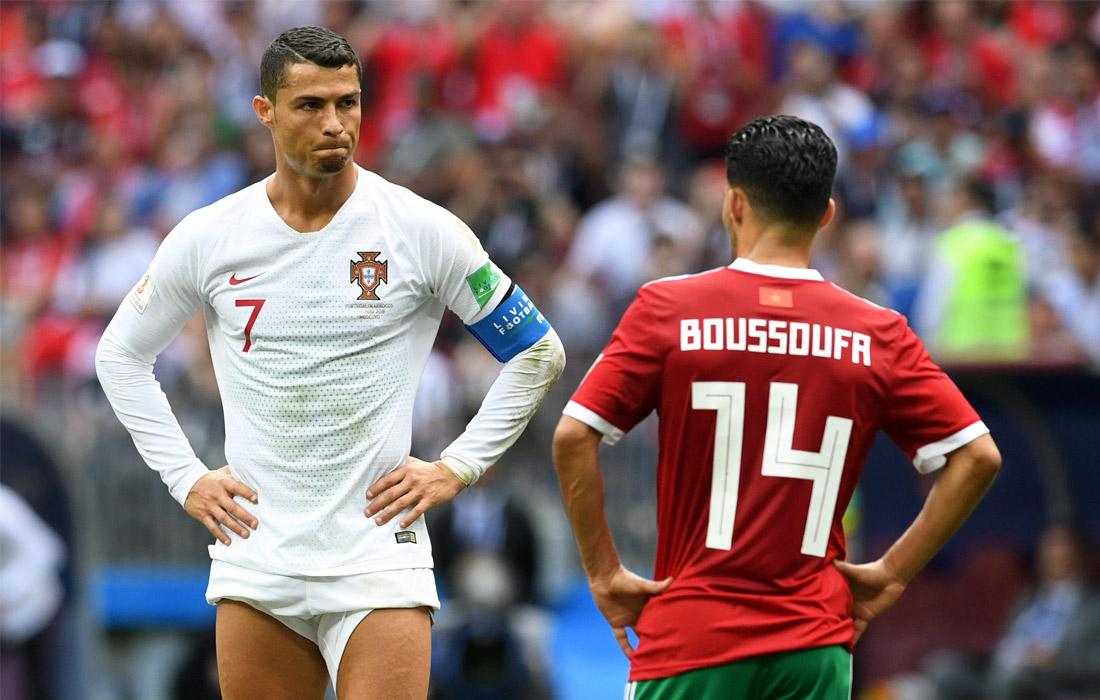 Форвард сборной Португалии Криштиану Роналду в матче группового этапа чемпионата мира по футболу между сборными Португалии и Марокко