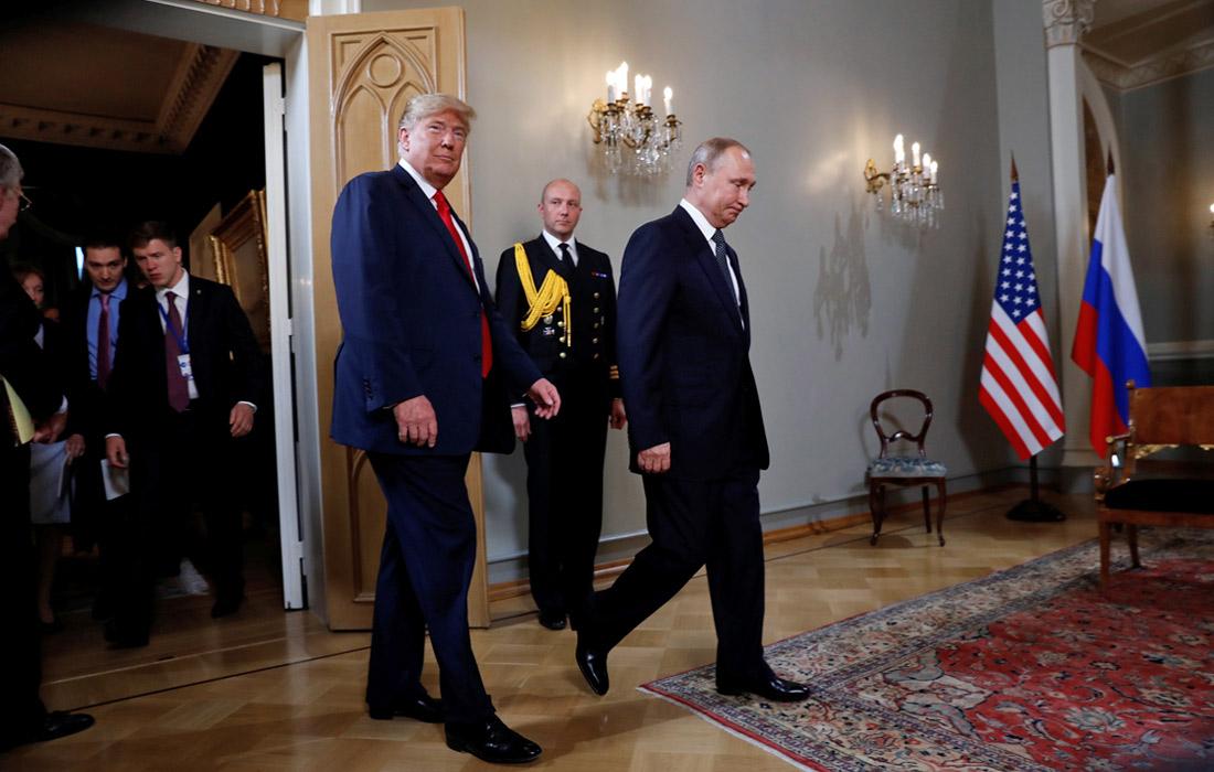 Дональд Трамп и Владимир Путин встретились в Президентском дворце в Хельсинки