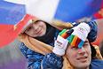 Российские болельщики во время квалификации слоупстайла на соревнованиях по фристайлу среди женщин на XXII зимних Олимпийских играх в Сочи.