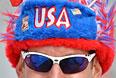 Американский болельщик перед началом финала слоупстайла на соревнованиях по фристайлу среди женщин на XXII зимних Олимпийских играх в Сочи.
