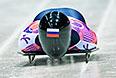 Никита Трегубов (Россия) на старте в третьем заезде на соревнованиях по скелетону среди мужчин на XXII зимних Олимпийских играх в Сочи.