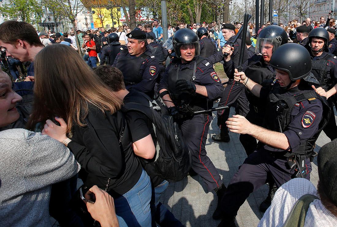 Полиция призывала разойтись собравшихся на Пушкинской площади