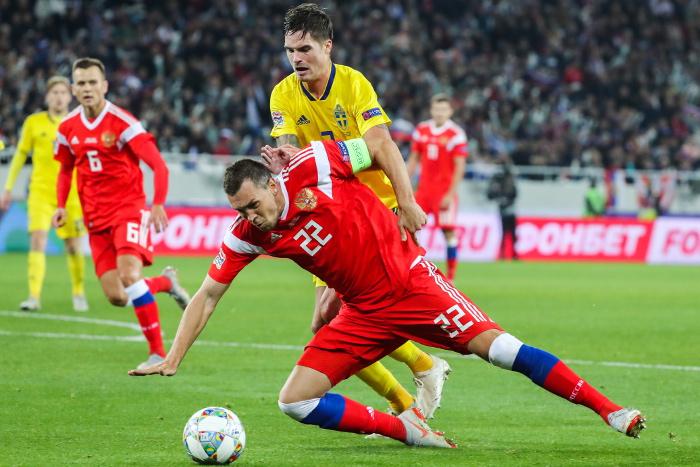 Сборные России и Швеции сыграли вничью в Лиге наций УЕФА