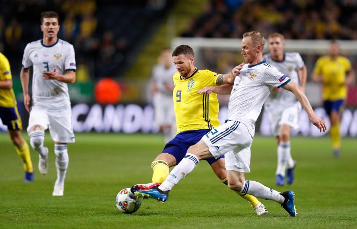 Сборная России проиграла Швеции и не смогла выйти в элиту Лиги наций УЕФА